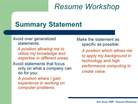 value statement resume