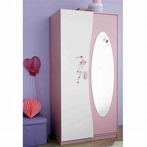 Armoire Porte Miroir : armoire 2 portes avec penderie et miroir papillon dya ~ Teatrodelosmanantiales.com Idées de Décoration