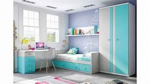 Chambre enfant garcon avec lit canape et bureau glicerio for Chambre ado garçon avec matelas memoire de forme 130x190