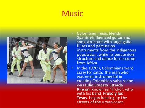 It is of african origin and is danced chiefly on the atlantic coast and on the banks of the magdalena river. Colombian culture