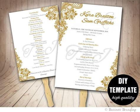 diy wedding program fans template gold wedding program fan template diy instant download