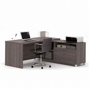 Bestar Pro-Linea L Shape Desk in Bark Grey - 120863-47