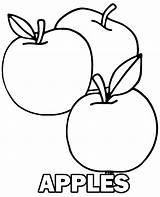 Coloring Apples Three Fruit Sheet Apple Printable Fruits Plain Simple Children Topcoloringpages sketch template