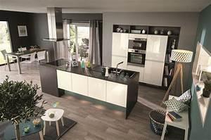 cuisine ilot central 12 photos de cuisinistes cote maison With meuble bar pour cuisine ouverte 7 cuisine noire et bois un espace moderne et intrigant