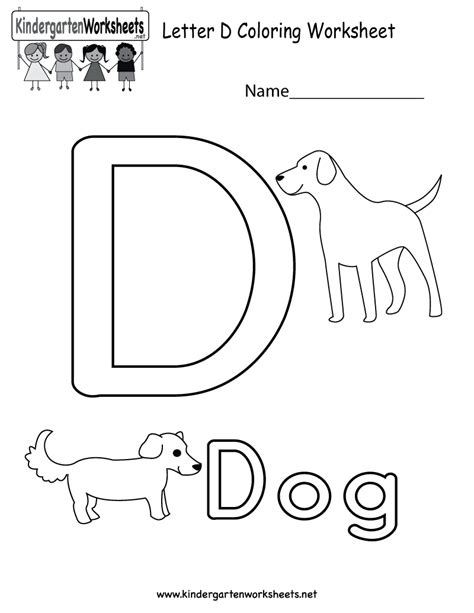 letter d coloring worksheet for in preschool or