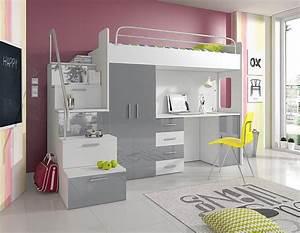 Etagenbett Mit Schrank : hochbett etagenbett alice hochglanz weiss grau bett schrank schreibtisch ebay ~ Indierocktalk.com Haus und Dekorationen