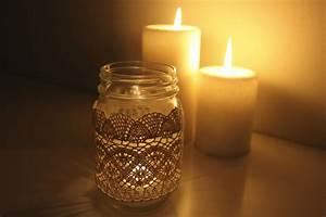 Laced, Mason, Jar, Candles