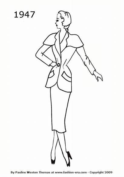 1947 Silhouettes Suit Silhouette Sketch Drawings 1940