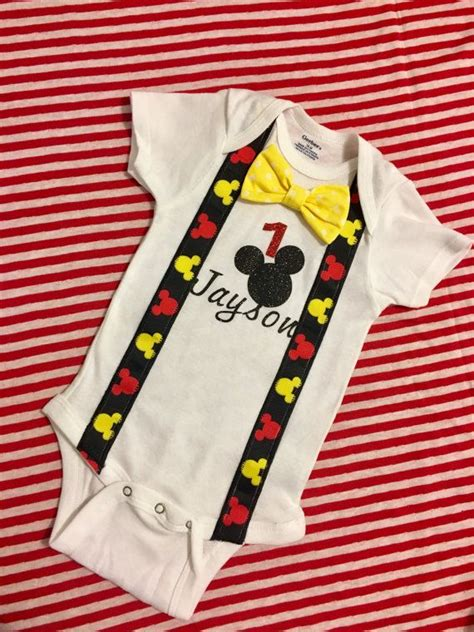 Amazon's choice for 1st birthday outfit +21. Mickey Mouse first birthday onesie with bowtie by ...
