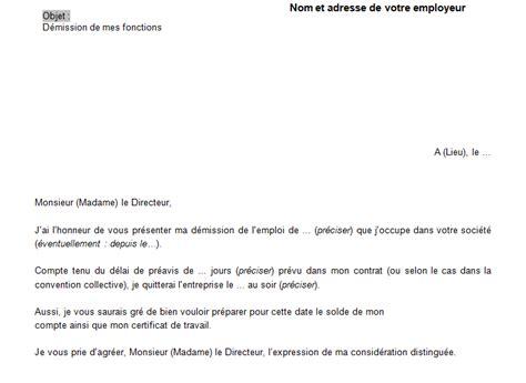 modele lettre de demission remise en propre mod 232 le lettre de d 233 mission avec pr 233 avis en word doc