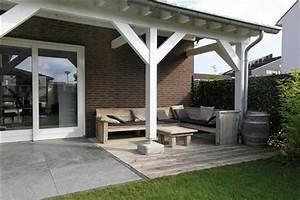Terrasse couverte en bois appenti et terrasse for Terrasse couverte en bois