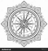 Compass Coloring Nautical Rose Vector Wind Graphic Drawing Line Adult Drawn Illustration Shutterstock Geography Adults Getdrawings sketch template