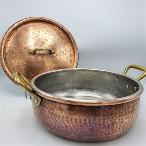 beautiful large ruffoni hammered copper cookware stockpot  handles lid