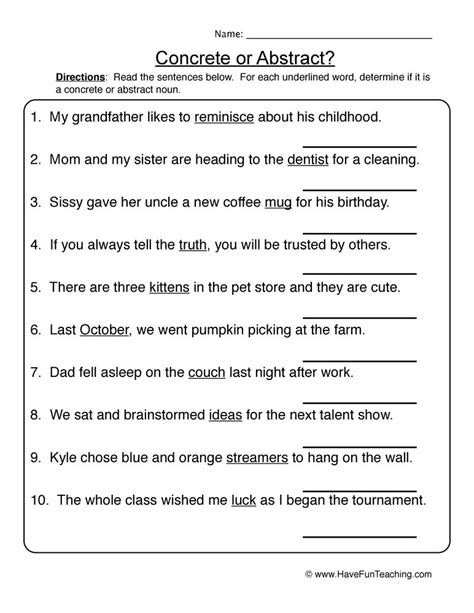 common or abstract nouns worksheet have fun teaching