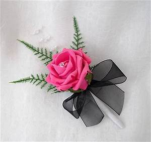 1 SINGLE ROSE BUTTONHOLES IN HOT PINK ROSES WITH BLACK ...