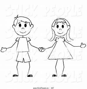 Stick Figure Kids Clipart Black And White - ClipartXtras