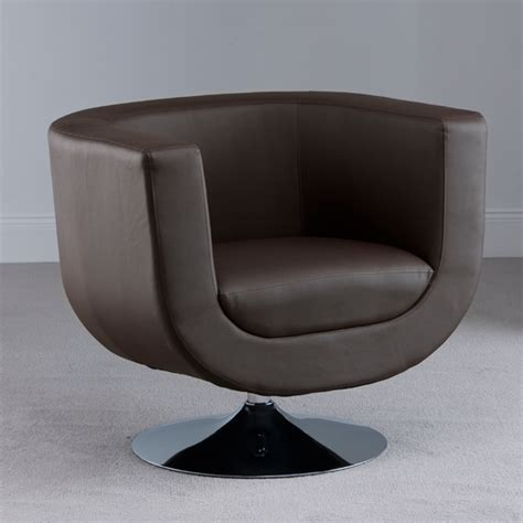swivel brown faux leather tub chair 18585 furniture