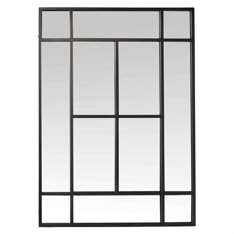 miroir mural chambre miroir rectangulaire en métal noir 100x140cm factory