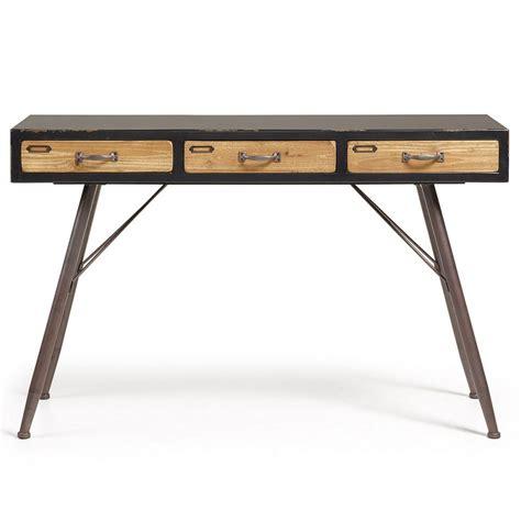 vente privee canapé console industrielle en bois et métal 3 tiroirs refe par