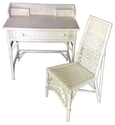pre owned white wicker desk chair set style