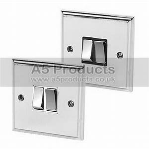 Double Light Switch 2 Gang Polished Mirror Chrome Victorian 10 Amp 2 Gang 2 Way