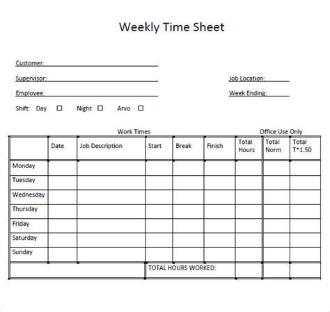 sle weekly timesheet template 9 free documents