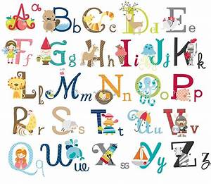 Big graphic alphabet letters kids room nursery wall decal for Alphabet letters for toddlers