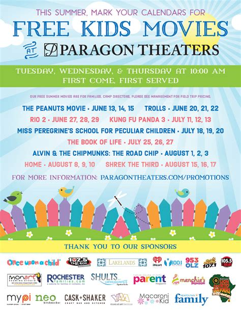 94801 Dos Lagos Theater Coupons by Free This Summer At Paragon Theaters Couponing