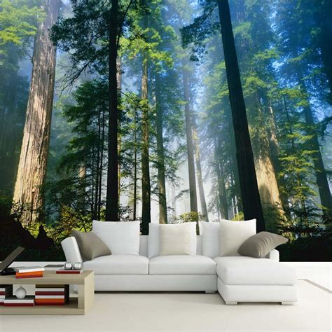 Custom 3d Wall Murals Wallpaper Fog Towering Trees Forest