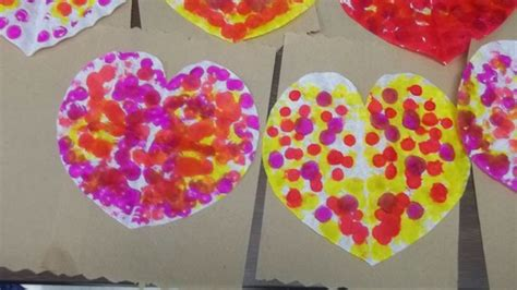 They'll set you back about 79 cents for 100. Coffee filter hearts with dot markers-Quick valentine's ...