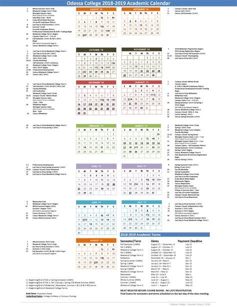 odessa college academic calendars