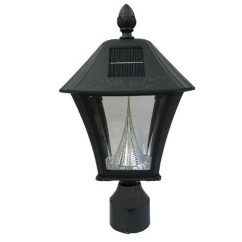 gama sonic baytown solar black outdoor post light with