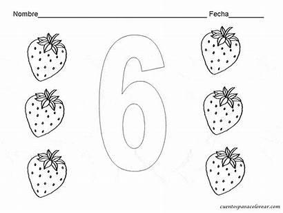 Numero Dibujos Numeros Colorear Fichas Seis Imprimir