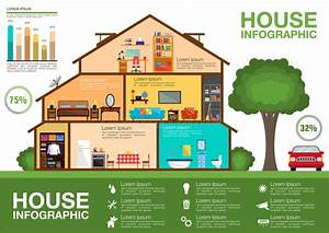 Ecological House Cutaway Infographic Design Stock Vector