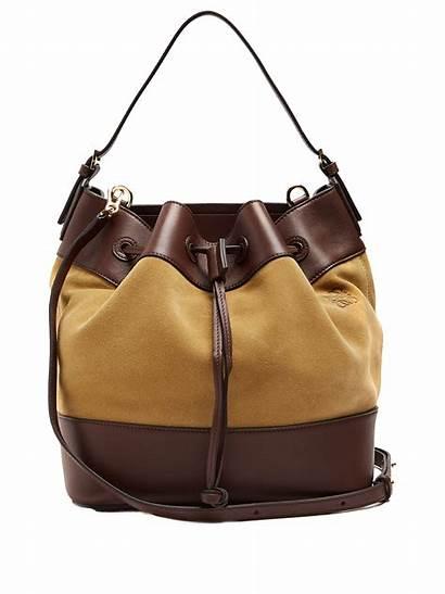 Bag Bucket Loewe Leather Suede Midnight Trimmed