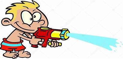 Gun Water Cartoon Shooting Boy Illustration Vector
