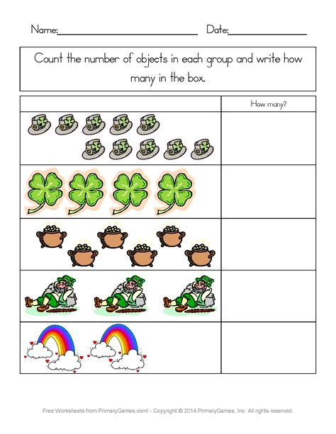 st patricks day worksheets st patricks day counting practice primarygames play