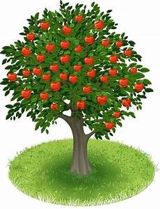 Summer Apple Tree With Red Apple Fruits In Green Field