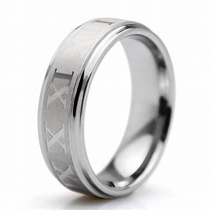 2016 popular single ring 6mm roman numeral letters With wedding rings with letters