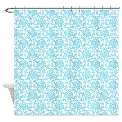 blue damask pattern shower curtain by mcornwallshop