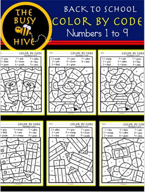 color  code fall bundle  number worksheets
