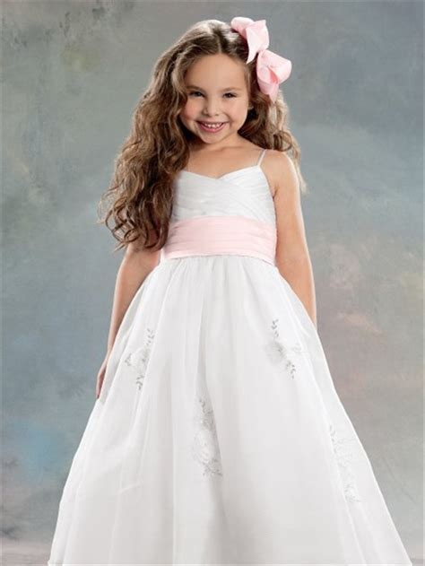A line Princess Spaghetti Strap Tea Length White Organza Flower Girl Dress With Pink Sash