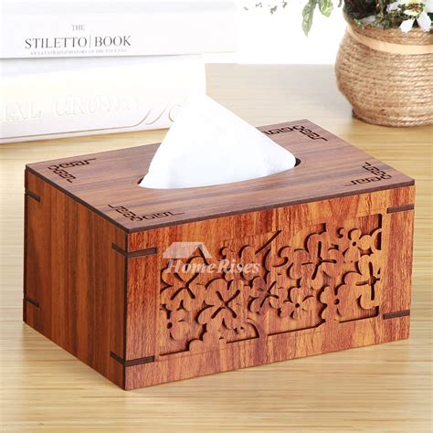 wooden tissue box cover hollow carved living room