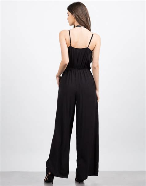 flared jumpsuit ruffle flared jumpsuit black jumpsuit black flare