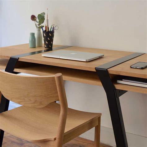 pi16 top wall desk solid oak and black steel legs