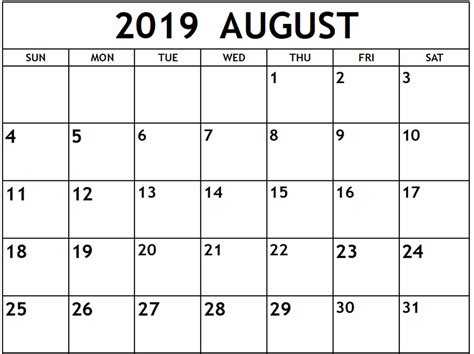 awesome august calendar printable template notes word