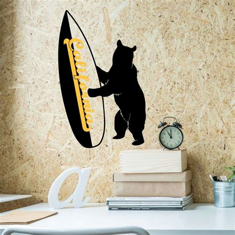 california bear surf decal vinyl wall art