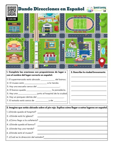 giving directions  spanish  worksheet