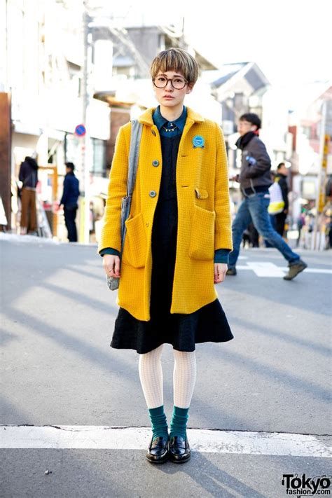 cute pixie cut  glasses didizizi mustard coat  harajuku