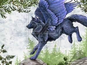 Black Wolf with Blue Eyes and Wings